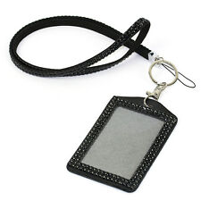 1pc Bling Rhinestone Leather Necklace Lanyard With Holder for Phone ID&Document