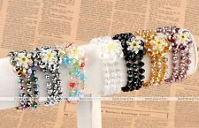 "Womens AB Crystal Glass Faceted Flower Beads Charms Fashion Bangle Bracelet 6""L"