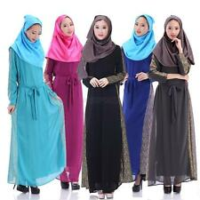 Women Muslim Chiffon Long Sleeve Party Dresses Islamic Kaftan Maxi Arab Clothes