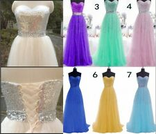 Stock Long Chiffon Bridesmaid Prom Formal Party Dresses Evening Ball Gown Dress