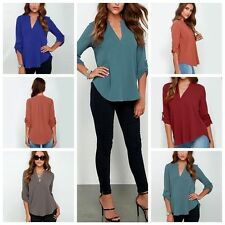 1pc Women Loose Casual 3/4 Short Sleeve Chiffon Shirt Blouse Tee Tops V-neck New