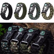 Rope Paracord Survival Bracelet Flint Fire Starter Compass Whistle Outdoor CYBD