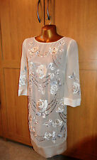 MONSOON CREAM EMBROIDERED EMBELLISHED SEQUIN PAULA ROSE TUNIC DRESS 12