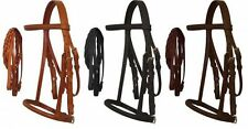 Pony English Headstall w/ Raised Browband, Braided Leather Reins & Caveson