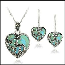 Sterling Silver Heart Necklace Earrings Jewelry Set Glitzy Marcasite Turquoise