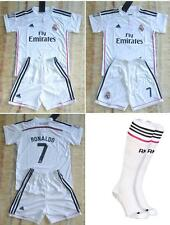 NEW  white home football kit  Soccer shirt and short +socks RONALDO 3-14 years
