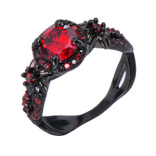 Sz 5-11 Red Ruby Engagement Band 10kt Black Gold Filled Womens Wedding Ring Gift
