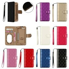 For Apple iPhone 7 Plus & Samsung Galaxy Genuine Leather Wallet Folio Case Cover