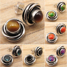 SPIRAL KNOT Stud !! 925 Silver Plated TIGER'S EYE & Other Gemstone NEW Earrings