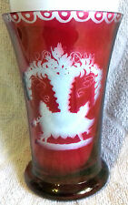 Antique Engraved Bohemian Red Cut to Clear Glass Vase