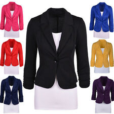 New Womens Blazer Jacket Suit Work Casual Basic Candy Color One Button Coat Tops