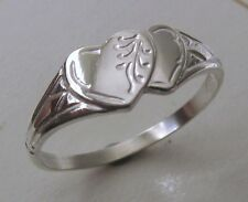 GENUINE SOLID 925 STERLING SILVER DOUBLE HEART SIGNET RING SIZE J/5 to Q/8.5
