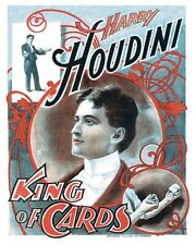 King Of Cards Magician Harry Houdini Retro Card Tricks Magic Poster