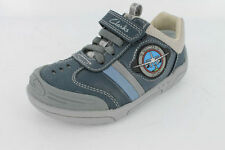 BOYS CLARKS WING BRITE INF NAVY COATED LEATHER LIGHT UP AIRPLANE SHOES (G fit)