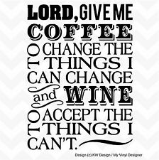COFFEE & WINE PRAYER vinyl wall art sticker decal home bar kitchen decor words