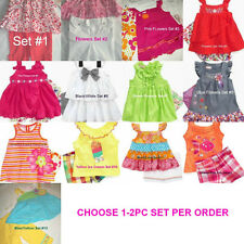 * NEW GIRLS 2PC BABY HEADQUARTERS SMOCKED FLOWERS SUMMER TOP SHORTS OUTFIT SET