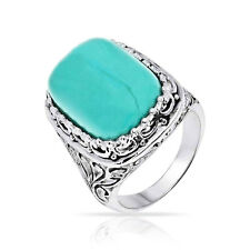 Bling Jewelry Filigree Simulated Turquoise Cocktail Ring Sterling Silver