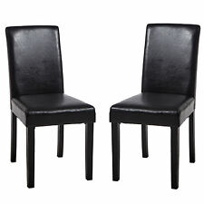 Modern Pair Dining Chairs PU With Wooden Legs Home Office Commercial Restaurants