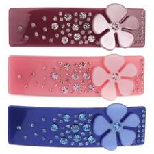 Elegant Petals Crystal Hair Barrette Hairclip Acrylic Rectangular Hair Accessory