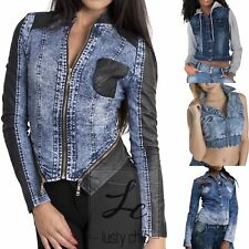 NEW WOMENS LADIES CROPPED DENIM JACKET COAT SUMMER BIKER TOP Size 6 8 10 12 14
