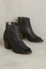 Kelsi Dagger Brooklyn Kyoto BLACK Perf Edgy open-toed leather booties Shooties