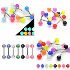 Pack of Surgical Steel Acrylic Ball Tongue Bars Body Piercing Jewellery 16mm
