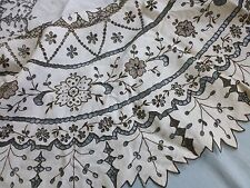 Vtg antique style hand embroidered Madeira cut work lace ROUND tea tablecloth