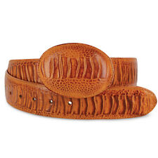New Mens Cognac Exotic Cowboy Western Ostrich Leg Print Leather Belts Size 32-48