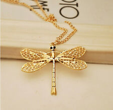 Retro hollow dragonfly wings necklace sweater chain