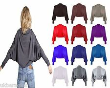 New Ladies Shrug Long Sleeved Bolero Plain Top Womens SIZE Sz UK s/m -m/l  8-26