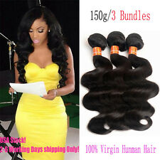 3 Bundles/150g Weave 7A 100% Virgin Brazilian Human Hair Extensions Body Wave
