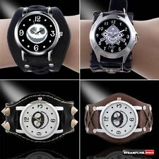 Luxury Gothic Skull Smile Bracelet Mens Wrist Watch Quartz Leather New Steampunk