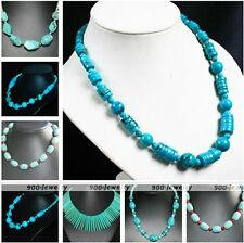 Women Girl Gemstone Howlite Turquoise Coin Round Bead Statement Necklace Fashion