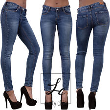 NEW Womens Ladies Stretch Blue Faded Slim Fit Skinny Jeans Sizes UK 6 8 10 12 14