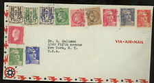 FRANCE 1946 airmail cover to US Marianne Ceres coat of arms
