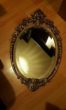 Antique Vintage oval Art Nouveau Bevelled Edge Mirror Brass frame