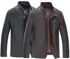 Mens Fashion leather long jacket coat trench parka outwear