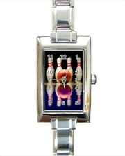Bowling Rectangle Italian Charm Watch (Battery Included)