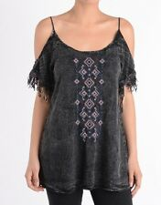 T-Party Black Mineral Washed Cold Shoulder Embroidered Fringed Tunic Top