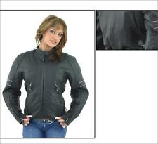 Womens Genuine Leather Jacket With Reflective Stripes On Sleeves