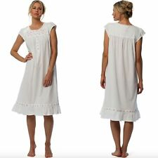 NWT EILEEN WEST NIGHTGOWN S/M/L White & Pink Embroidered Floral Cotton Jersey