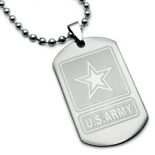 Stainless Steel Dog Tag Necklace with U.S. Army Force Logo & Prayer Inscription