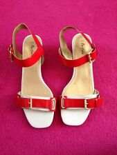 Marks and Spencer's Women's Portfolio Size 5 1/2 Red and White Heeled Sandals