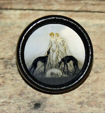 Louis Icart COURSING III borzoi greyhound dog Art Tie Tack or Ring or Brooch pin