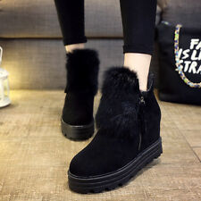 WOmens Faux Fur Suede Ankle Boots Side Zip Hidden Heels Wedge Snow Shoes Winter