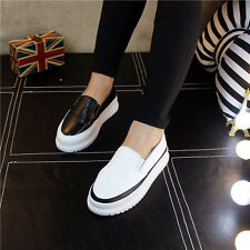 Womens Flat Heels Casual Pumps Synthetic Leather Boat Shoes Classic Muffin Shoes