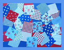 Nursery fabric patchwork squares 4 x 4 ins, Blue and Red. Baby Boy. 25 or 50