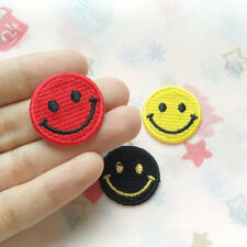 Smile face Embroidered Applique Iron on Patch Round circle patch Heat Applique