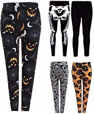 Ladies Halloween Print Skull Pumpkin Leggings Womens Skeleton Pants Size 8-22