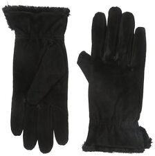 ISOTONER Black Suede Gathered Wrist Microluxe Lined Womens Gloves XL NEW